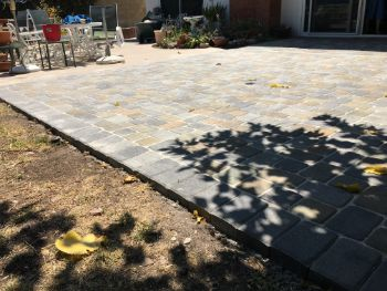 Yorba Linda backyard stamped concrete