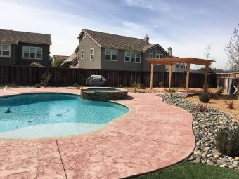 yorba linda pool deck stamped concrete