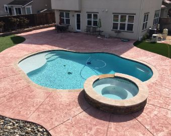 stained and stamped cocnrete pool deck yorba linda
